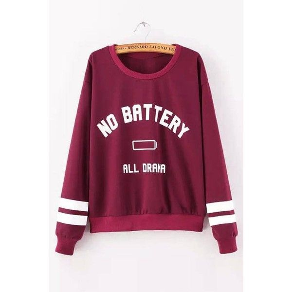 Yoins Yoins Letter Boyfriend Sweater ($18) ❤ liked on Polyvore featuring tops, sweaters, burgundy, shirts & tops, burgundy sweater, long-sleeve shirt, purple long sleeve shirt, purple shirt and purple striped shirt