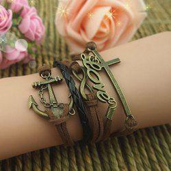 Vintage Bracelet Multicouche Orné de Croix et Lettre et Ancre Pour Femmes