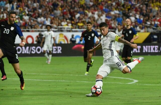 USA 0 Colombia 1 in 2016 in Glendale. James Rodriguez shoots for goal in the 3/4th place play-off at Copa America.