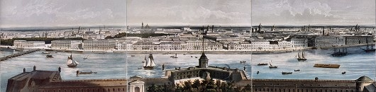 """""""State Hermitage Museum St Petersburg""""Charles Claude Bachelier, (detail of) Panorama of St. Petersburg, c. 1850,lithograph, watercolour, varnish, 46 x 320"""