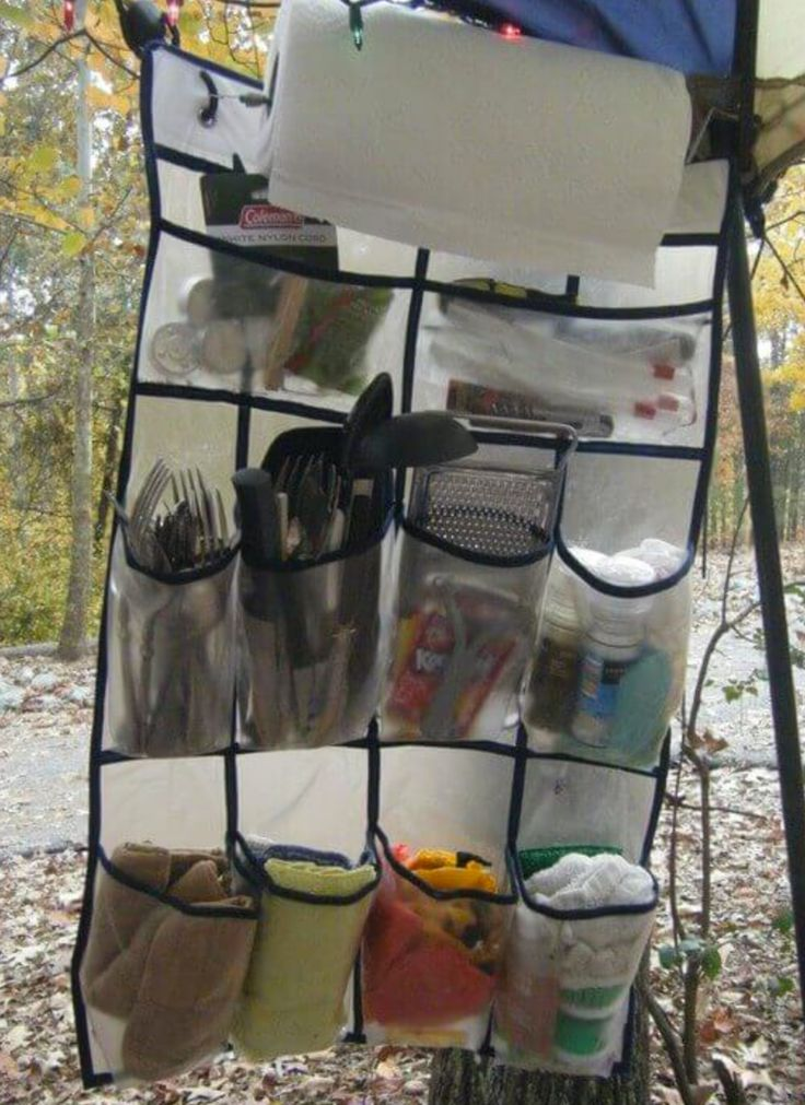 Everyone could use a few tips, tricks & hacks while they are camping. 15 camping hacks: Scrambled Eggs In A Bottle, TP Container, Campfire Orange Rolls, Campfire Eclairs, Easy Campfire Pancakes, Walking Tacos, Bright Lantern, Mini Medicine Cabinet, Space Saving Spices, DIY Soap Pouch, Outdoor Kitchen Organizer, DIY Fire starter.