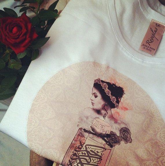 New lovely white t-shirt 100% cotton, Arabic fashion Illustration