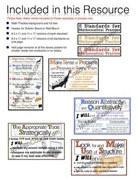 8 MATHEMATICAL PRACTICE POSTER CLASSROOM SET -- Finally a poster set that will fit my middle school classroom!!
