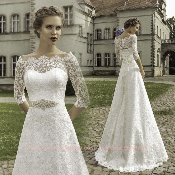 Simple Lace Wedding Dress Cheap Informal Bride Dress Half: Illusion Half Sleeves Lace Plus Size Wedding Dresses With