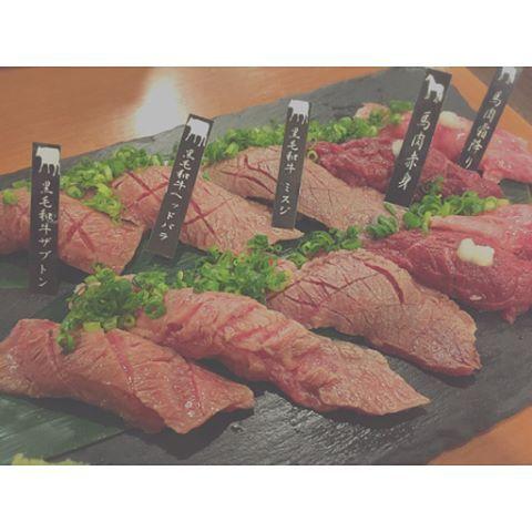 . . ᴀᴘʀ.12.🐄 . 気になってた  #KACCHAN に先輩と❤ . . 肉寿司メドレー🍣 . 今日もデブリシャス❤ . . #池袋 #肉 #フォトジェ肉 #肉スタグラム #雲丹 #うにく #和牛握り # 肉寿司 #ザブトン #トモサンカク #馬肉 #牛肉 #赤身 #食テロ #飯テロ #デブリシャス #フォーリンデブ #肉活 #晩ごはん #写真好きな人と繋がりたい #happy #instafood #yum #yummy #instagood #instapic #l4f #l4 #f4