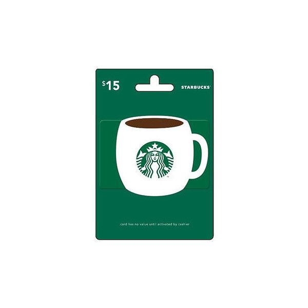 $15 Starbucks Gift Card ($15) ❤ liked on Polyvore featuring gift cards