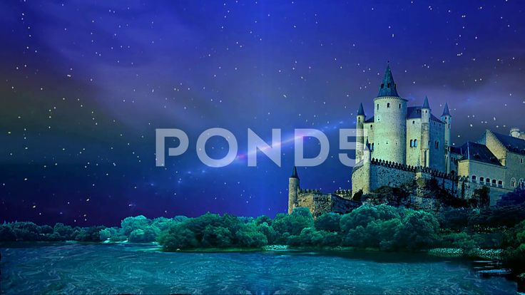 Night over a fairytale castle - Стоковое видео   by Aleksmaster