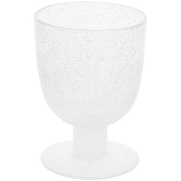 Amara Severn Wine Glass - Frost ($17) ❤ liked on Polyvore featuring home, kitchen & dining, drinkware, handmade wine glass, glass drinkware, short stem wine glasses, frosted wine glasses and wine glass