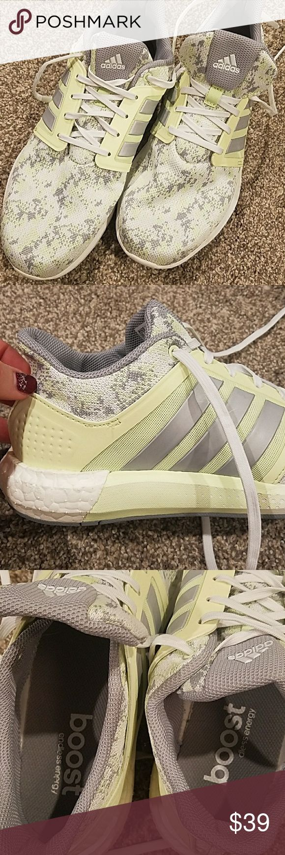 Like new Adidas endless energy boost sneakers Worn once...sadly to big.  willing to sell OR trade for similar condition Adidas in any style size 9.5 adidas Shoes Athletic Shoes