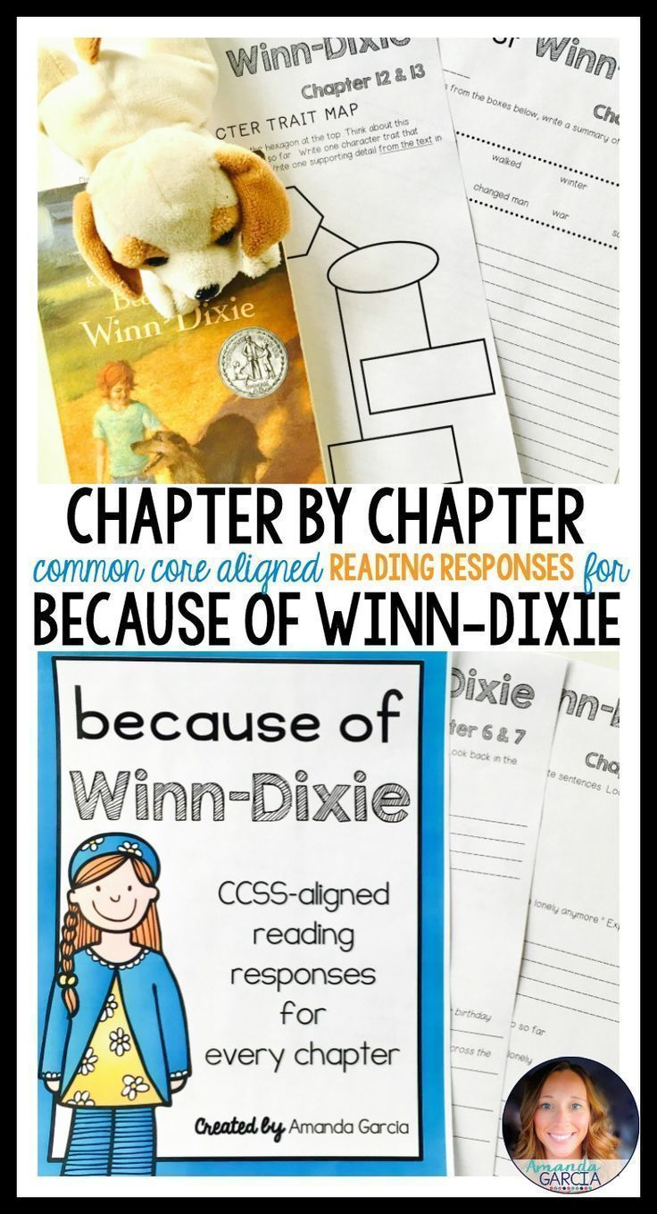 This unit gives your readers fun, Common Core aligned reading responses for every chapter of Because of Winn-Dixie! These activities are fun for students and perfect for book clubs, literature circles, guided reading, and independent reading.