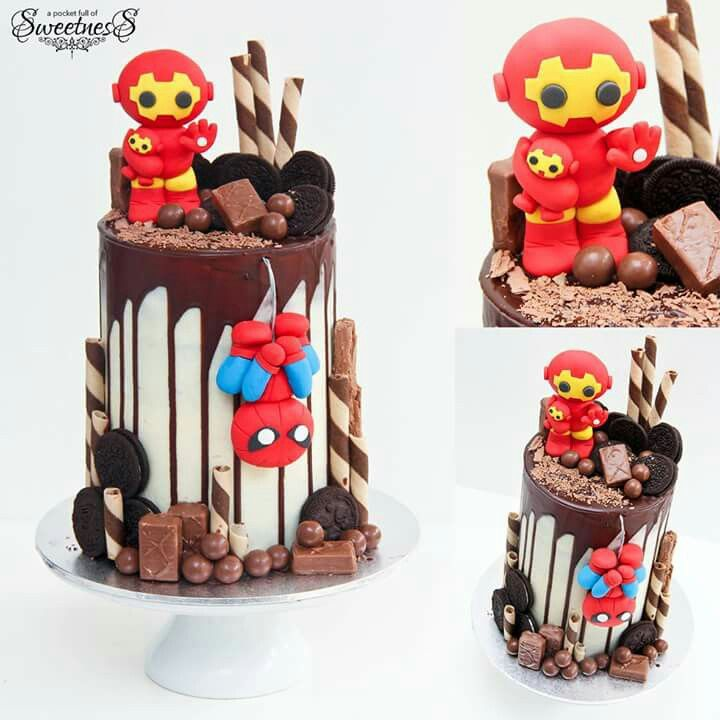 Iron Man spiderman drip cake