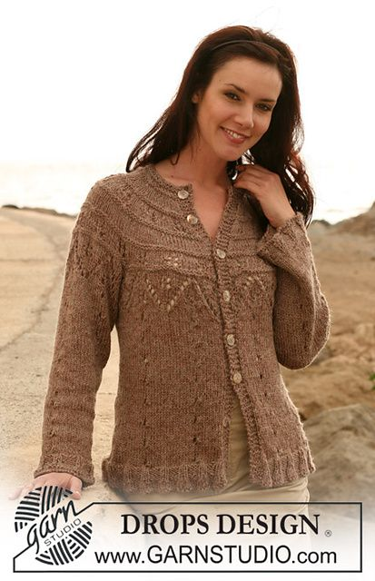"""Ravelry: 107-9 jacket with lace pattern and raglan sleeve in """"Cotton Viscose"""" and """"Alpaca""""Free pattern by DROPS design"""