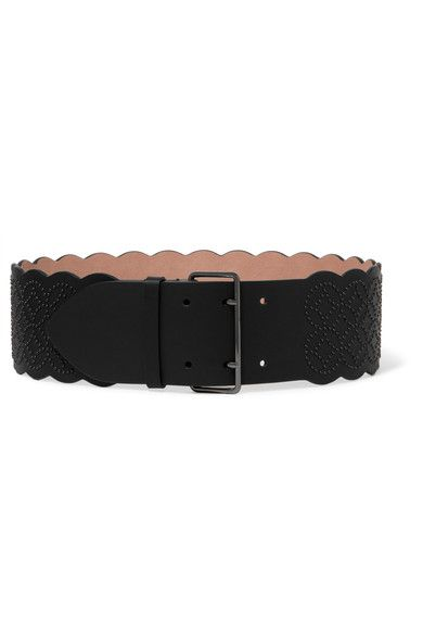 Black leather belt (Calf) Buckle fastening Made in Italy