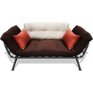 Mali Flex Multi-Position Futon Lounger with Plank/Stone/Dusk Cushions, Silver Frame