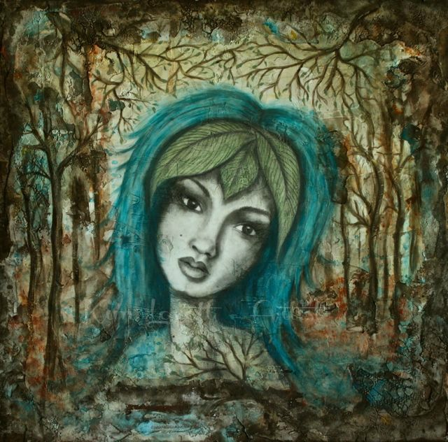 'Willow'  Acrylics and pencil on plaster by Kim Lovett-Wadek