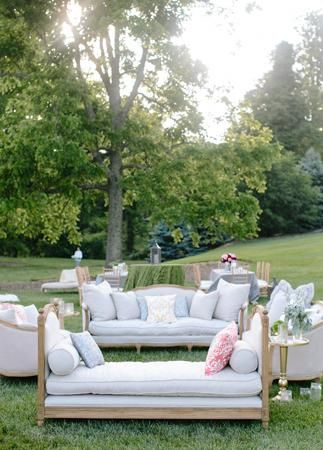 Love this idea for an outdoor wedding! Create your own lounge area.