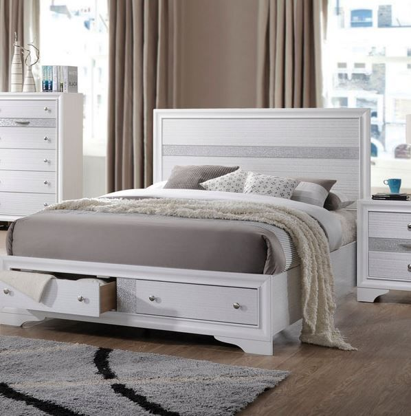 Naima Queen Bed W Storage In White Acme Furniture 25770q Bed