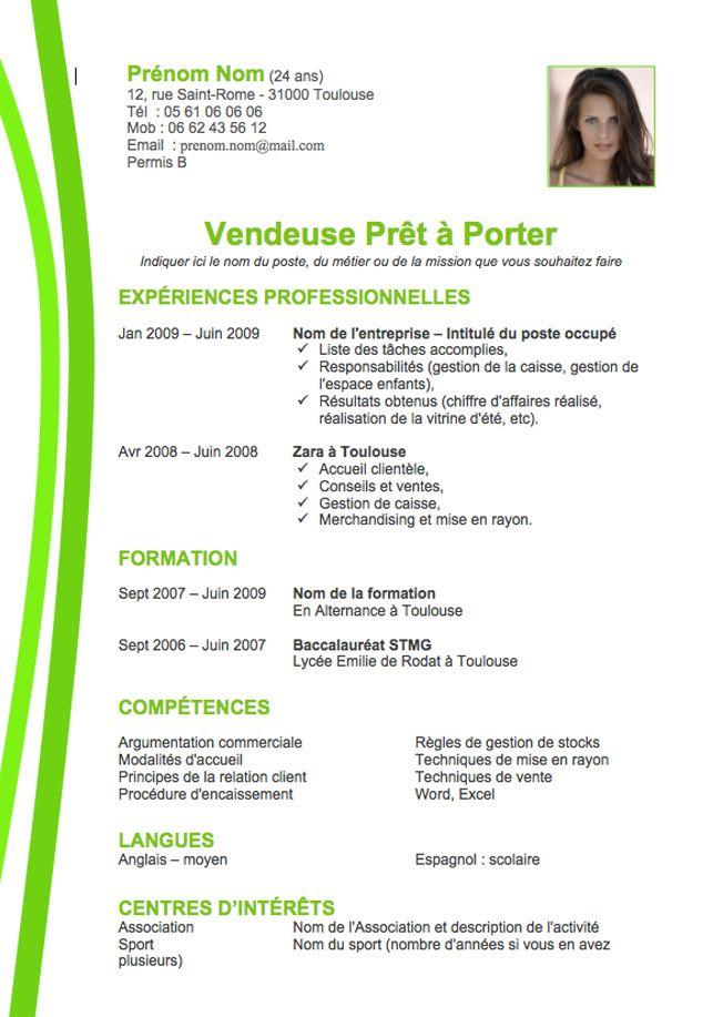 CV Vendeuse Prêt à Porter Exemple & Modèle Créer un CV ...