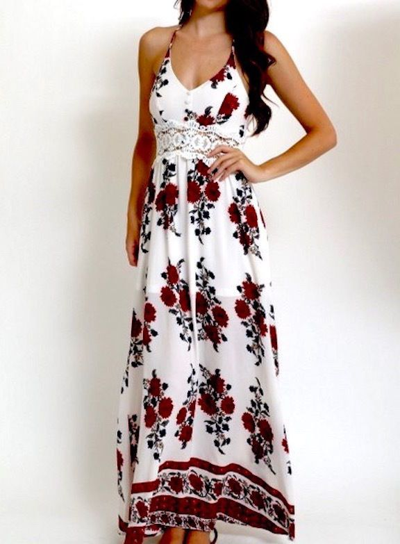 NEW SOUTHERN GIRL FASHION $68 Printed Dress Floral Maxi Long Lace Gown Small NWT #Boutique #Maxi #Casual