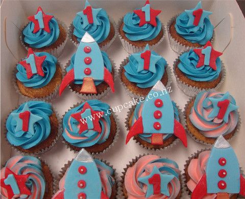 boy's rocket cupcakes