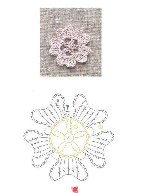 Crochet Flower - Chart ❥ 4U // hf                                                                                                                                                                                 Mais