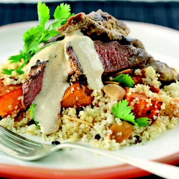 Middle Eastern Yogurt Lamb with Pumpkin Couscous  #TheDairyKitchen #recipe