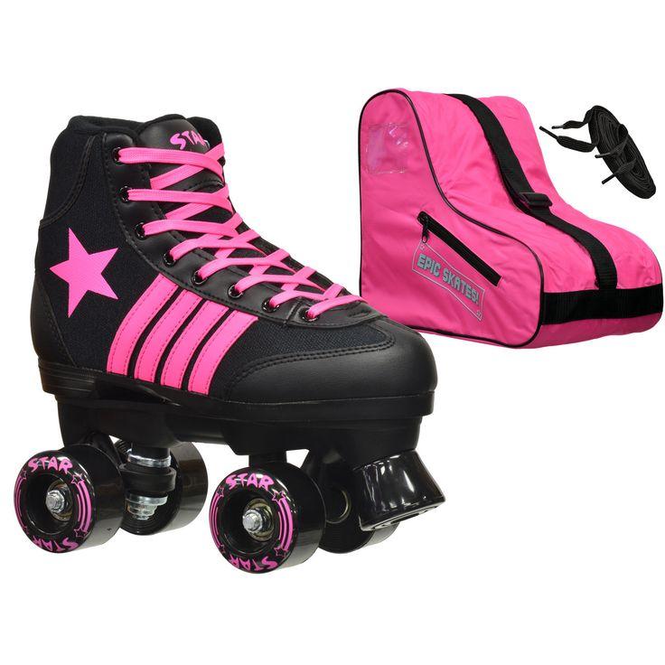 Epic Star Vela and Pink High-Top Quad Roller Skates Package