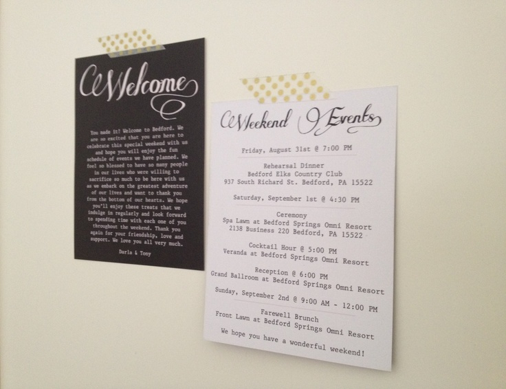 Wedding Gift Bag Itinerary : Bag Cards, Weekend Itinerary Notes & Stickers - 60 Bags, Wedding ...