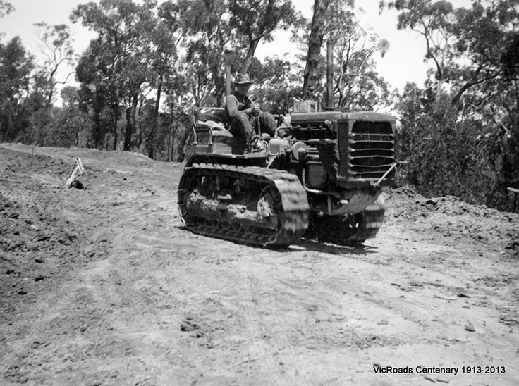 Princes Highway East section 2 tractor at work in Haunted Hills 1929. VicRoads Centenary 1913-2013.