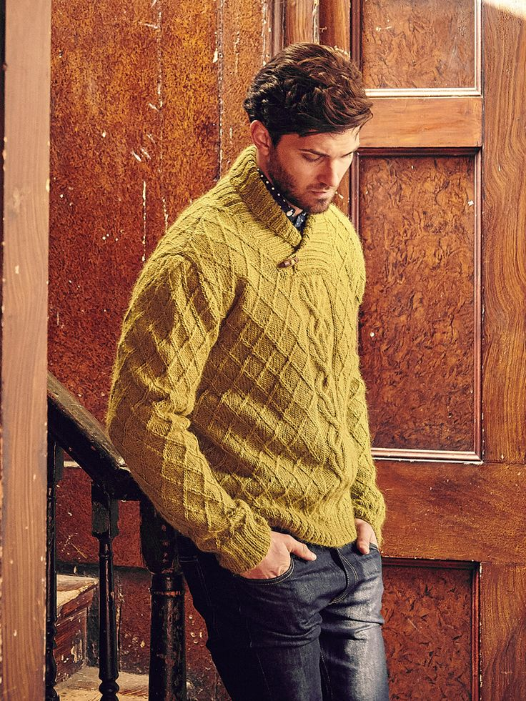 Eddystone - Knit this mens cable sweater from Rowan Knitting & Crochet Magazine 58, a design by Martin Storey using the gorgeous yarn Creative Focus Worsted (alpaca and wool.) With an all over cable pattern, deep ribbed edgings and collar, this knitting pattern is suitable for the more experienced knitter.
