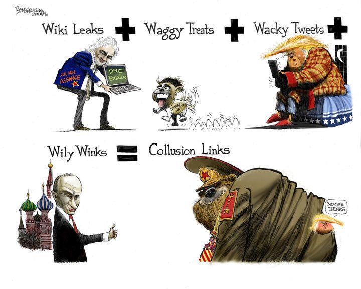 Steve Benson (2017-11-24) USA: wiki Leafs, Donald Trump,  Vladimir Putin, collusion