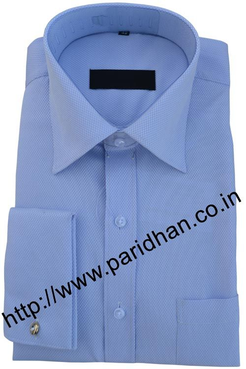 Sky blue mens formal shirt made in cotton fabric.
