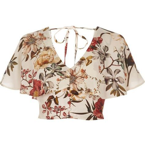 River Island Cream floral print cape crop top (520 ARS) ❤ liked on Polyvore featuring tops, shirts, crop tops, cropped, cream, sale, women, tie crop top, floral shirt and pink crop top