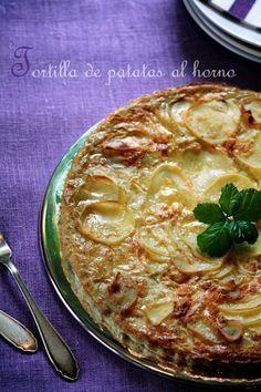 Tortilla de patatas al horno - Me apeteció hacer esta receta desde que la vi en el último número de la revista de Cocina de  Lecturas. es una buena alternativa si no quieres tomar una tortilla de patatas con su aceite....