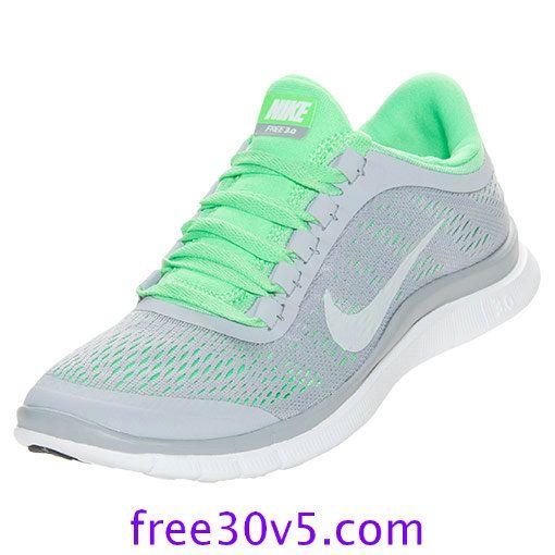 freeruns20.com for Half off Nike Frees,Nike Free 3.0 V5 Womens Wolf Grey White Poison Green 580392 013