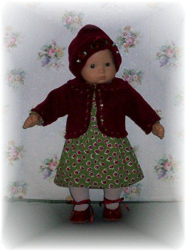 Doll clothes. One of Bitty's newest outfits. Can be purchased from Sweet Pea Doll Clothes.