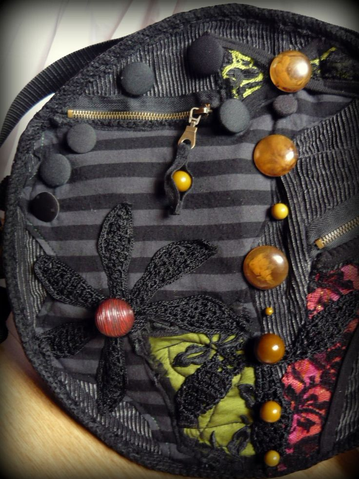 Handmade by Judy Majoros - Beaded round crossbody bag- shoulder bag.- Recycled bag. -striped-black-grey-red-green-crochet-lace