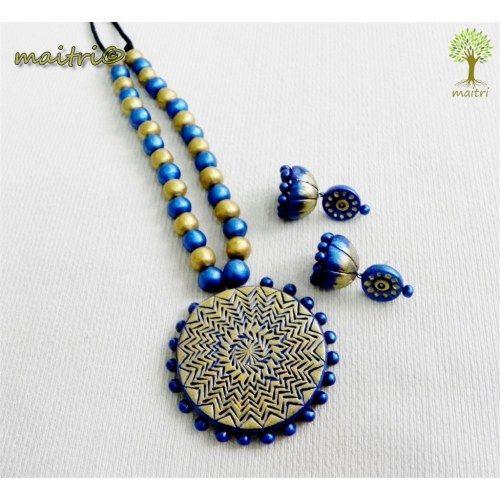 Terracotta Jewellery - Blue Gold Magic  www.facebook.com/maitri.crafts.maitri maitri_crafts@yahoo.com