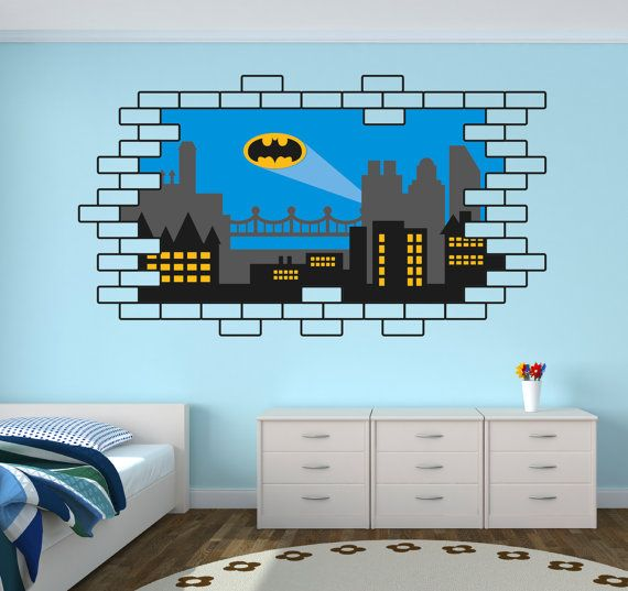 Batman Gothic City Wall Decal - Gothic City Skyline Wall ...
