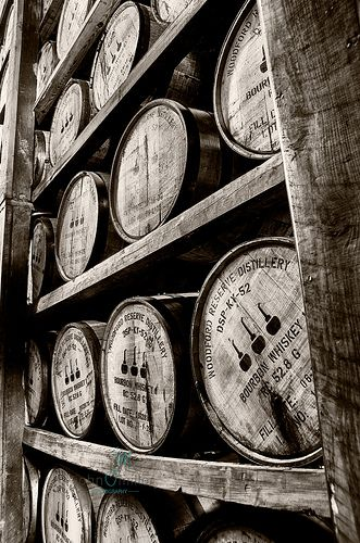 Woodford Distillery - Aging bourbon barrels in a warehouse of Woodford Reserve Distillery in Versailles Kentucky