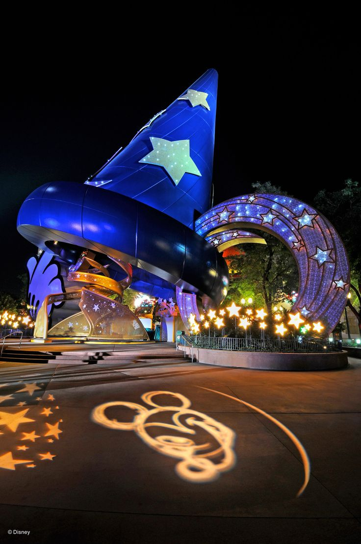 Walt Disney World - Hollywood Studios - Under the hat at night. So glad I could enjoy this before they took it down.