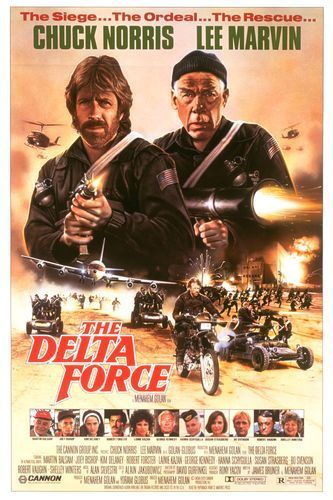 THE DELTA FORCE: Directed by Menahem Golan.  With Chuck Norris, Lee Marvin, Martin Balsam, Joey Bishop. A 707 aircraft jetliner on its way from Athens to Rome and then to New York City is hijacked by Lebanese terrorists. The terrorists demand that the pilot take them to Beirut. What the terrorists don't realize is that an elite team of commandoes led by Major McCoy (Norris) and by Colonel Alexander (Marvin) as been called into service to eliminate all terrorists on the jetliner.