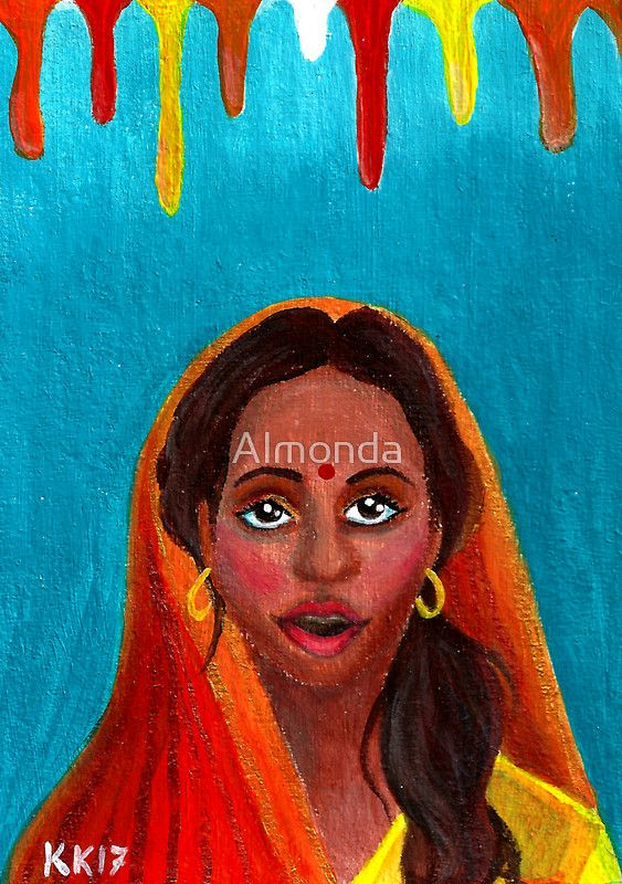 Holi Festival of Colors - Indian Girl. I made a portrait painting for Holi, a Hindu Festival of Colors. The acrylic painting on cardboard depicts an Indian girl with colors dripping above her, because one of the traditions of Holi is to throw colored powders or colored liquids on each other.