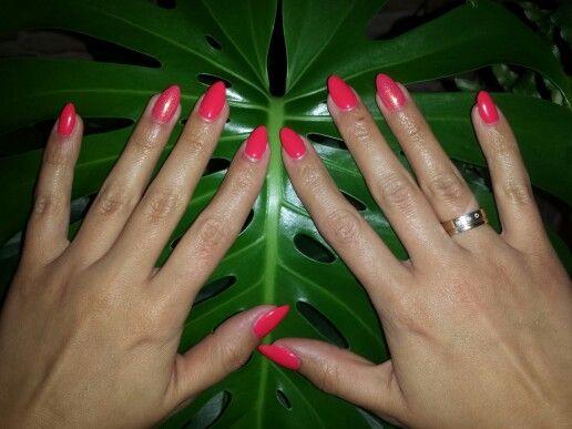 #nail#semilac#tutti frutti#mermaid efect#spring colors#almond nails
