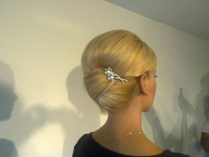 Clean and classy bun.  Great for bridesmaids.