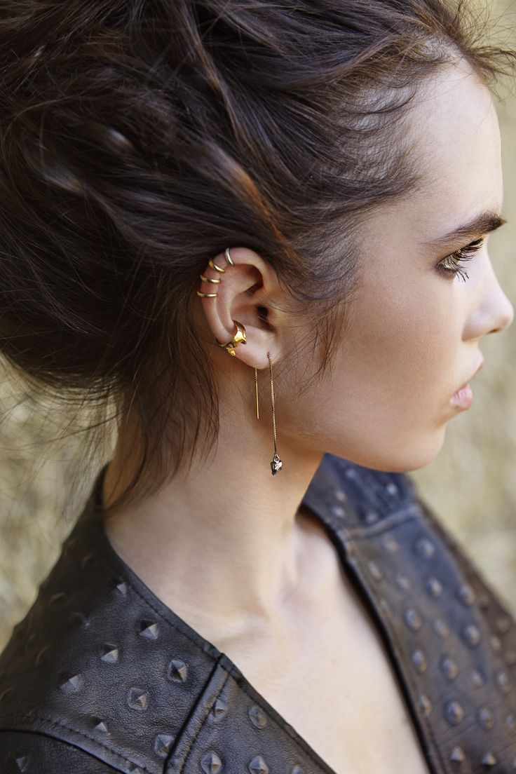 the most badass ear cuff situation with the delicate Tiny Ear cuffs, Vesper Ear Cuff and Fang earrings - click on the image to shop the RAWR  collection by Mr. Kate