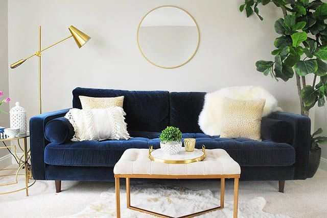A Fun Loft Area With A Blue Velvet Sofa Available From An Affordable High Quality Online In 2020 Velvet Sofa Living Room Blue Couch Living Room Blue Sofas Living Room