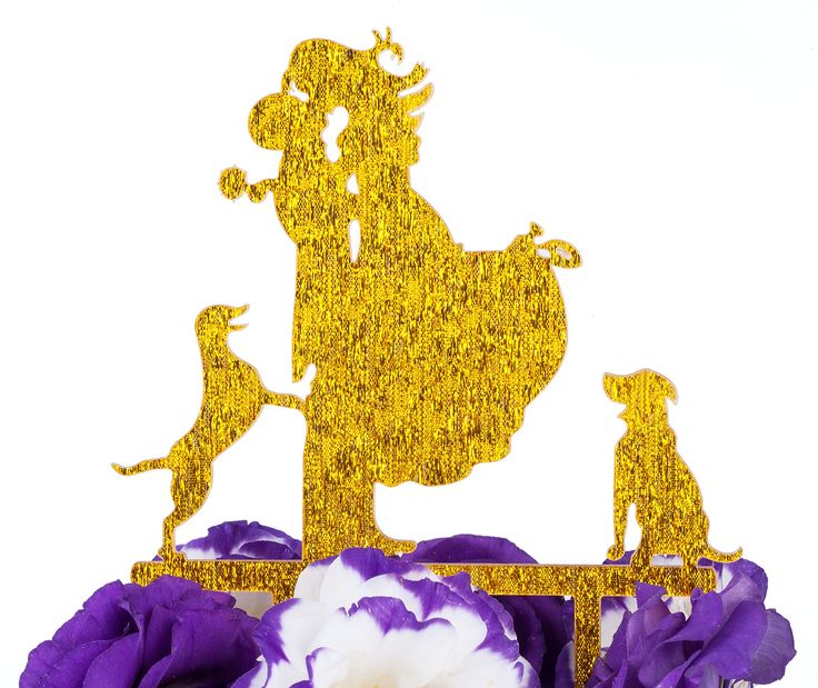 LOVENJOY with Gift Box Love Her Love Her Dogs Bride and Groom Silhouette Wedding Cake Topper (5-inch, Gold Glitter)