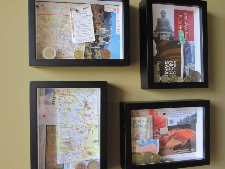 Shadow boxes-- my favorites are the ones with 3D, foreign currency, etc.