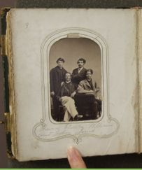 "This image is interesting because it is one of the only ones of a group in the albums. It is titled ""Thomas, Charles, William, and John Jones"". Who were these men and how did Arabella come to receive their photograph? #UmichDAAS336 #UniversityofMichigan #ArabellaChapman"